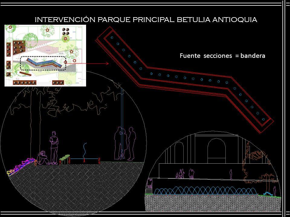 INTERVENCIÓN PARQUE PRINCIPAL BETULIA ANTIOQUIA Fuente secciones = bandera