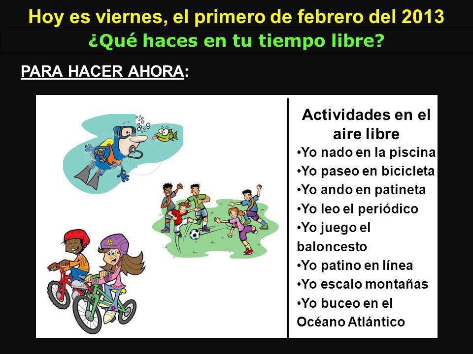 las actividades leer Yo _____ en el parque. leo