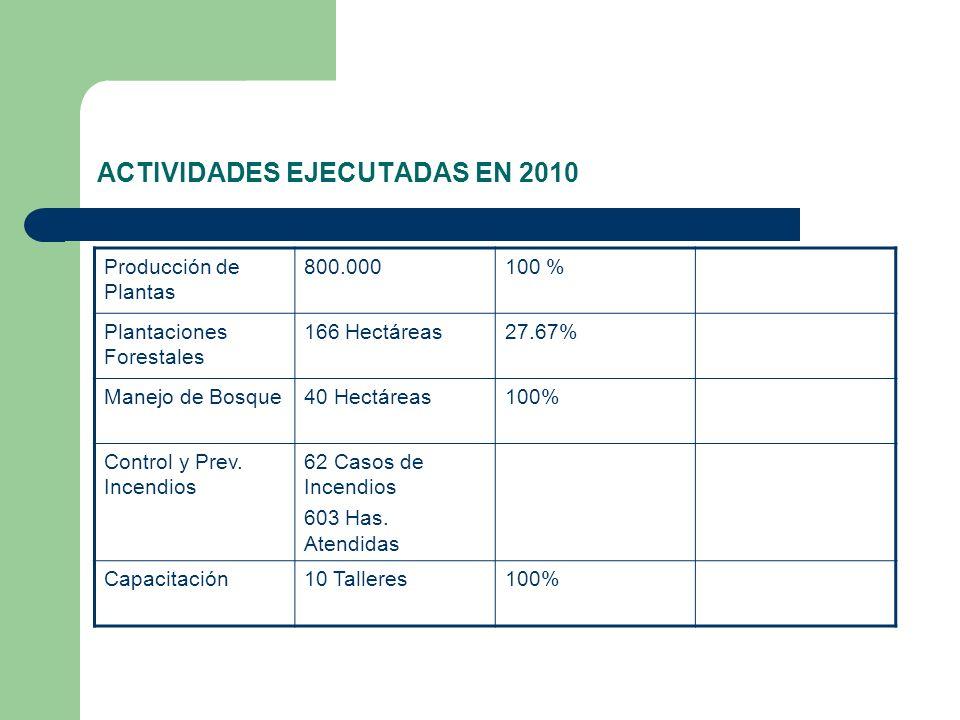 ACTIVIDADES EJECUTADAS EN 2010 Producción de Plantas 800.000100 % Plantaciones Forestales 166 Hectáreas27.67% Manejo de Bosque40 Hectáreas100% Control