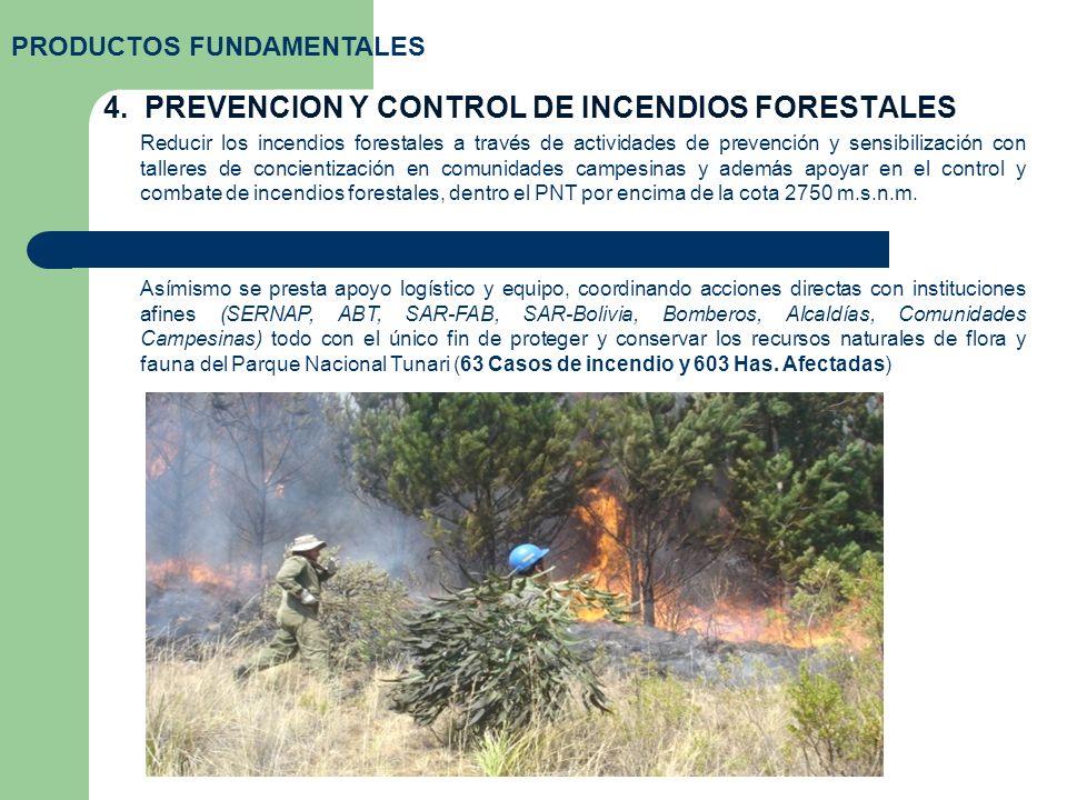 4. PREVENCION Y CONTROL DE INCENDIOS FORESTALES PRODUCTOS FUNDAMENTALES Reducir los incendios forestales a través de actividades de prevención y sensi