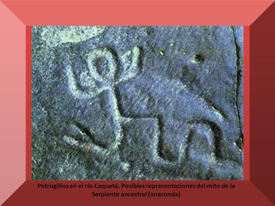 Petroglifos en el río Caquetá.