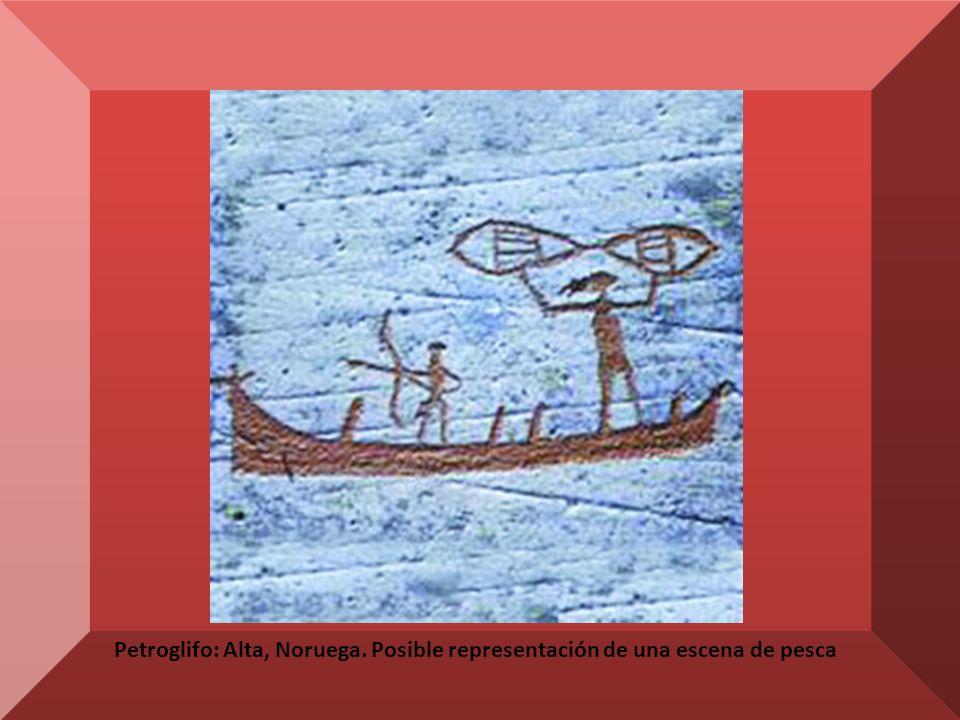 Petroglifo: Alta, Noruega. Posible representación de una escena de pesca