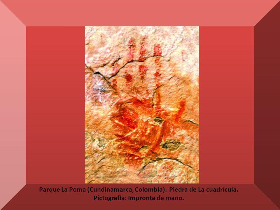 Parque La Poma (Cundinamarca, Colombia). Piedra de La cuadrícula. Pictografía: Impronta de mano.