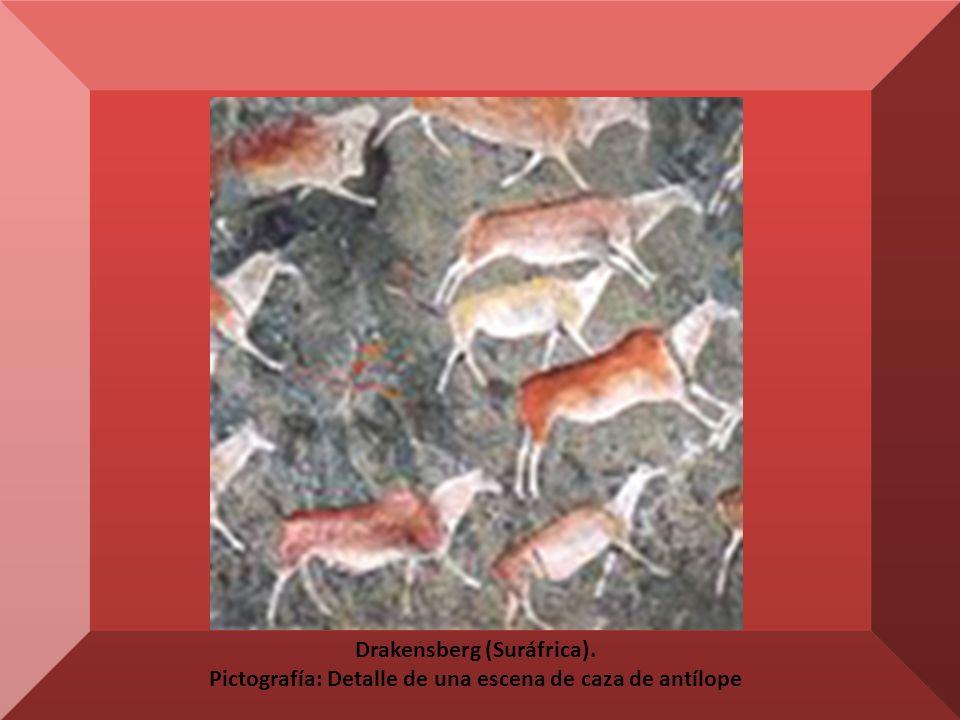 Drakensberg (Suráfrica). Pictografía: Detalle de una escena de caza de antílope