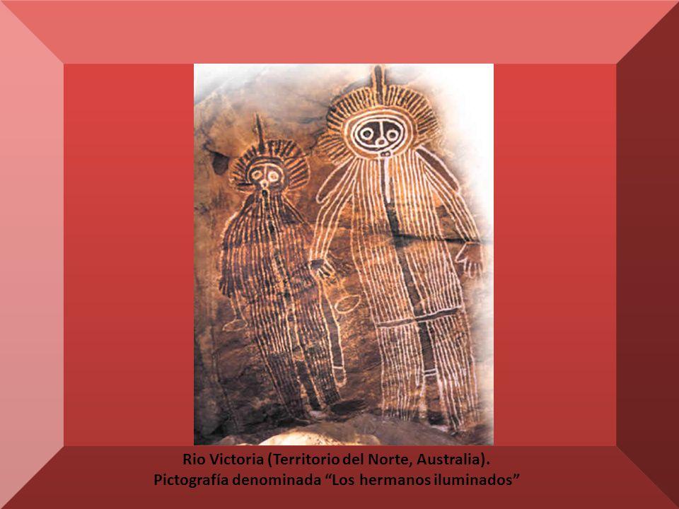 Rio Victoria (Territorio del Norte, Australia). Pictografía denominada Los hermanos iluminados
