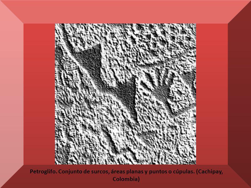 Petroglifo. Conjunto de surcos, áreas planas y puntos o cúpulas. (Cachipay, Colombia)
