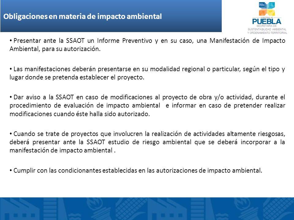 Requisitos mínimos que deberá contener el estudio de impacto ambiental Presentar ante la SSAOT un Informe Preventivo y en su caso, una Manifestación d