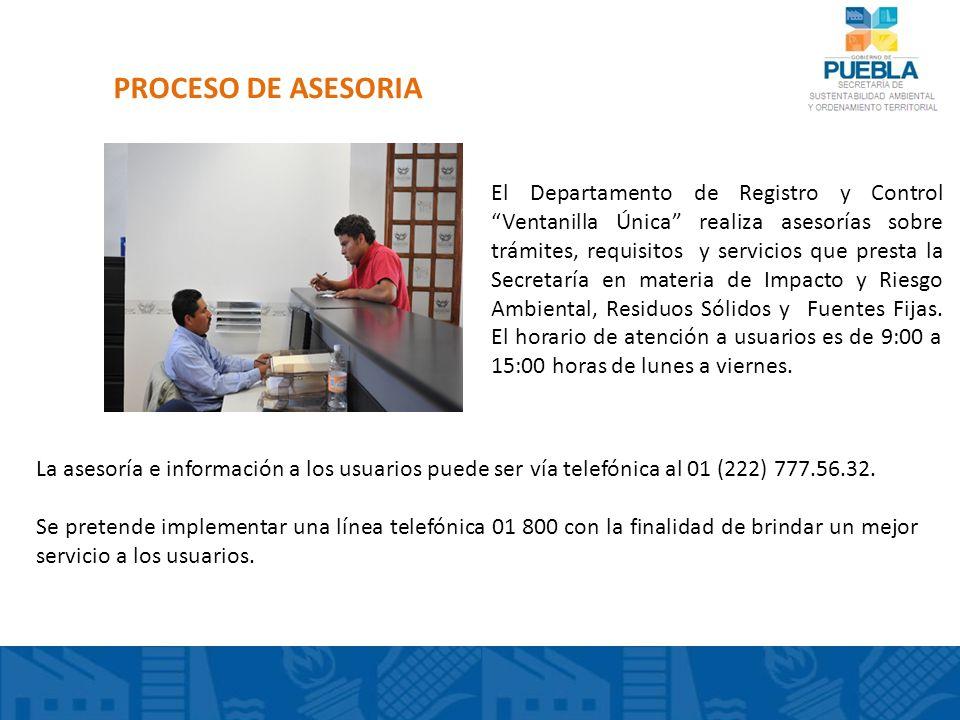 PROCESO DE ASESORIA El Departamento de Registro y Control Ventanilla Única realiza asesorías sobre trámites, requisitos y servicios que presta la Secr