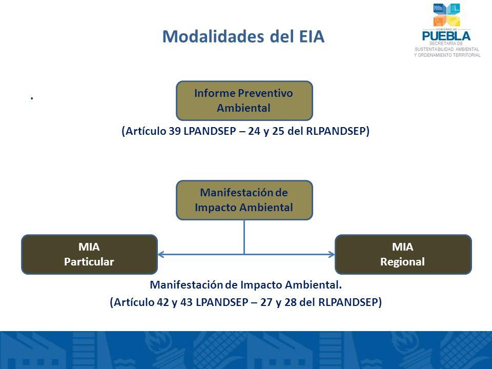 Modalidades del EIA. (Artículo 39 LPANDSEP – 24 y 25 del RLPANDSEP) Manifestación de Impacto Ambiental. (Artículo 42 y 43 LPANDSEP – 27 y 28 del RLPAN