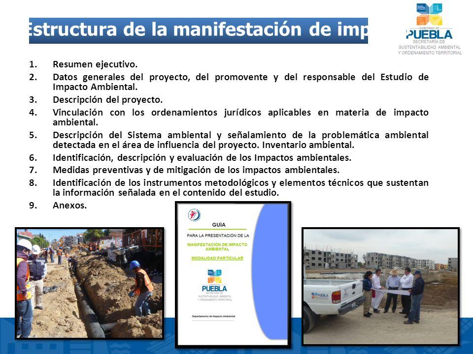 Estructura de la manifestación de impacto ambiental 1.Resumen ejecutivo. 2.Datos generales del proyecto, del promovente y del responsable del Estudio