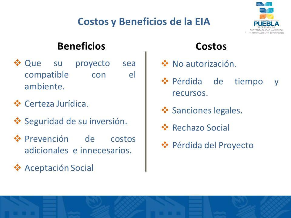 Costos y Beneficios de la EIA Que su proyecto sea compatible con el ambiente. Certeza Jurídica. Seguridad de su inversión. Prevención de costos adicio