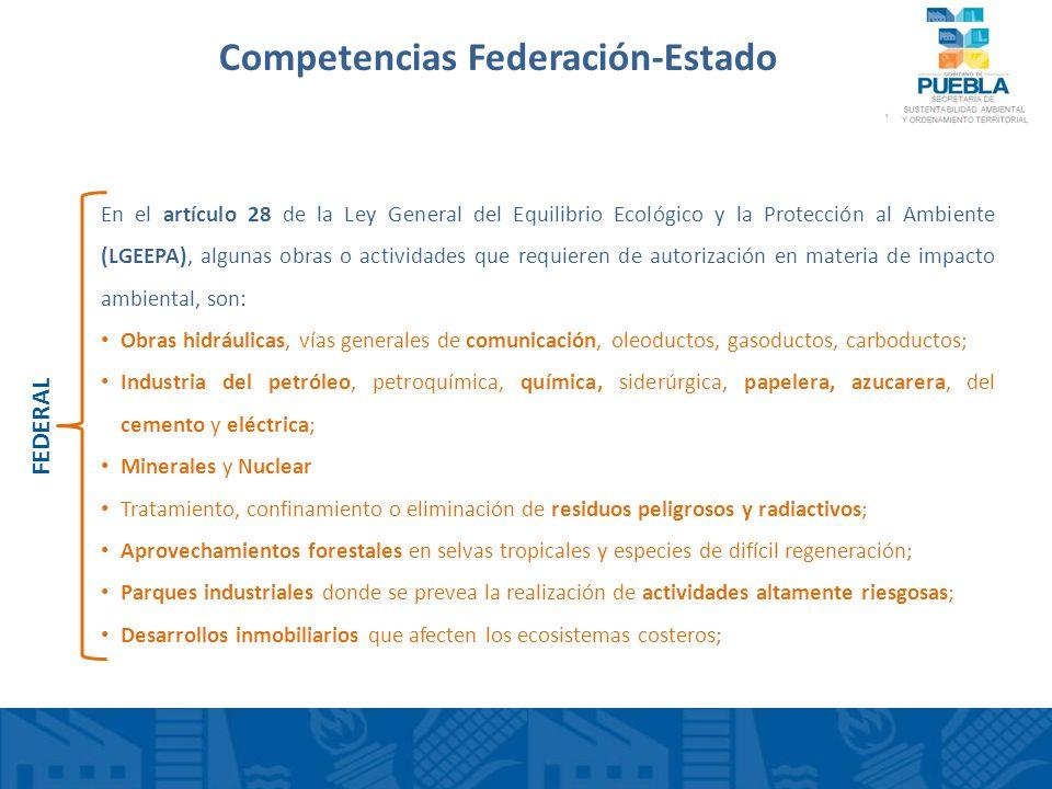 Competencias Federación-Estado En el artículo 28 de la Ley General del Equilibrio Ecológico y la Protección al Ambiente (LGEEPA), algunas obras o acti