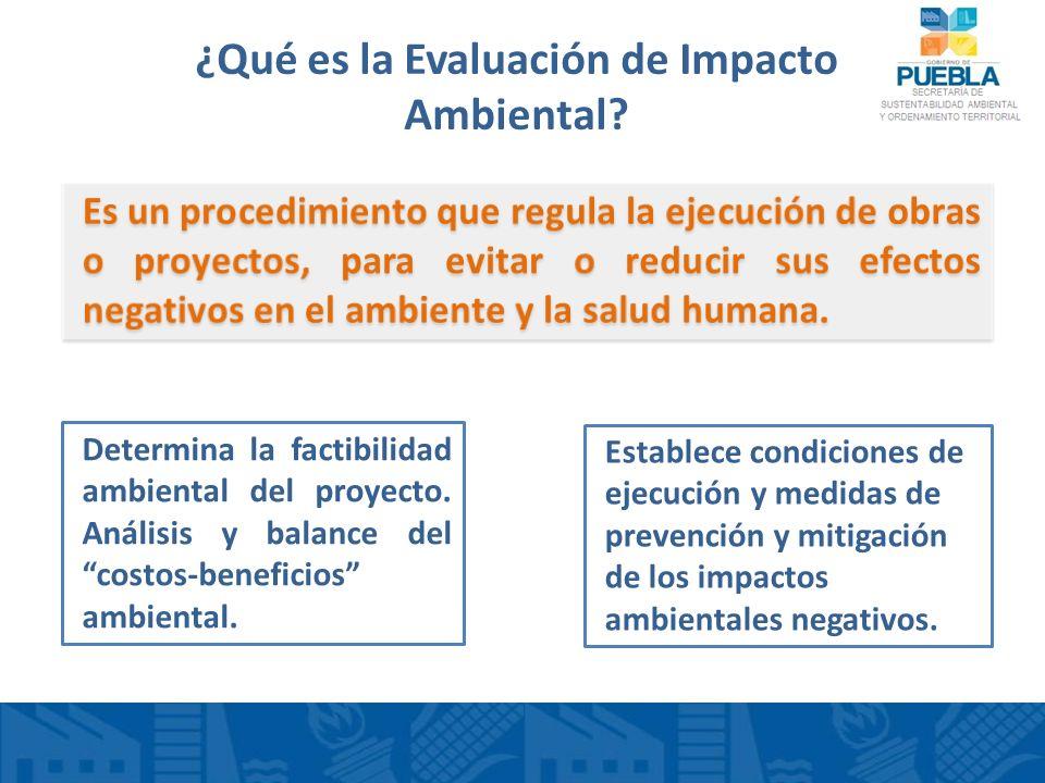 ¿Qué es la Evaluación de Impacto Ambiental? Determina la factibilidad ambiental del proyecto. Análisis y balance del costos-beneficios ambiental. Esta