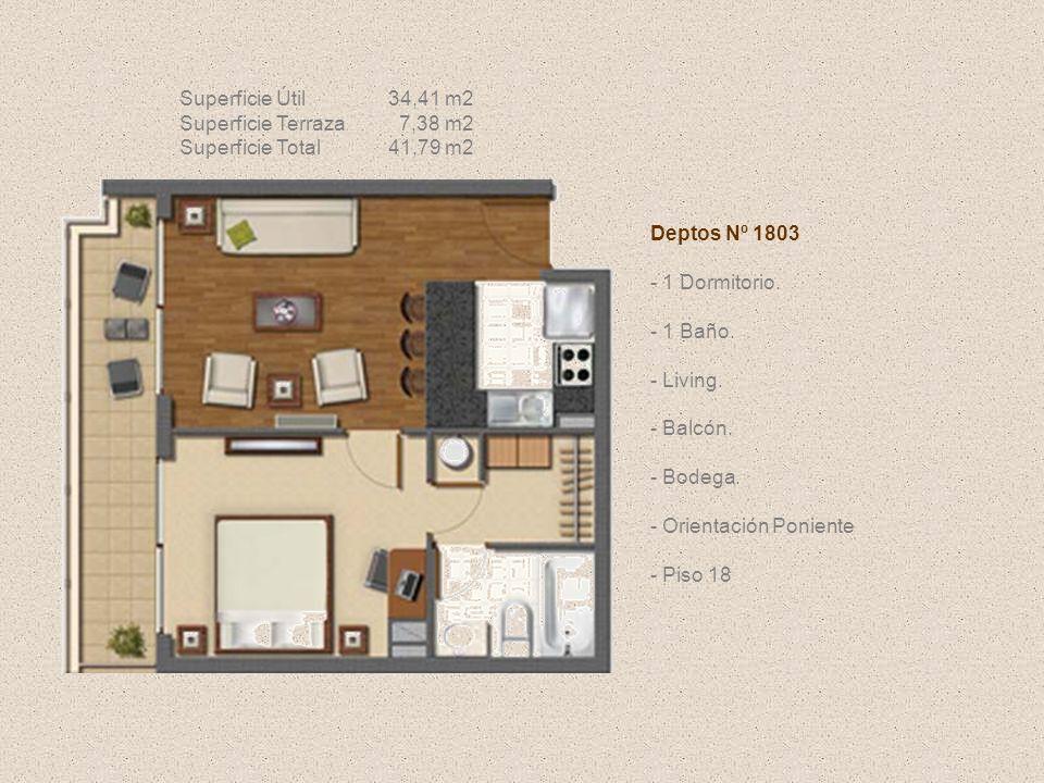 Deptos Nº 1803 - 1 Dormitorio. - 1 Baño. - Living. - Balcón. - Bodega. - Orientación Poniente - Piso 18 Superficie Útil34,41 m2 Superficie Terraza 7,3