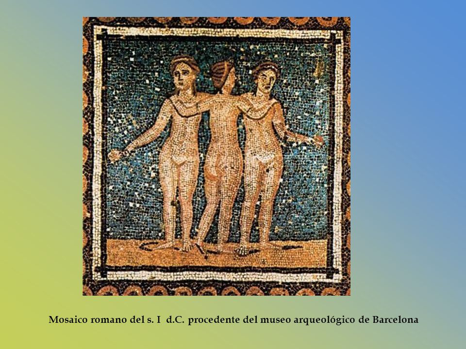 Mosaico romano del s. I d.C. procedente del museo arqueológico de Barcelona