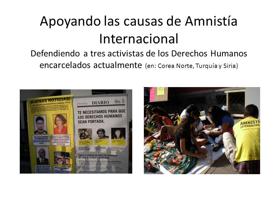 Apoyando las causas de Amnistía Internacional Defendiendo a tres activistas de los Derechos Humanos encarcelados actualmente (en: Corea Norte, Turquía y Siria)