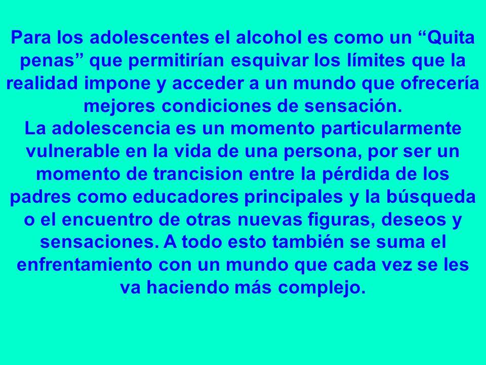 Para los adolescentes el alcohol es como un Quita penas que permitirían esquivar los límites que la realidad impone y acceder a un mundo que ofrecería