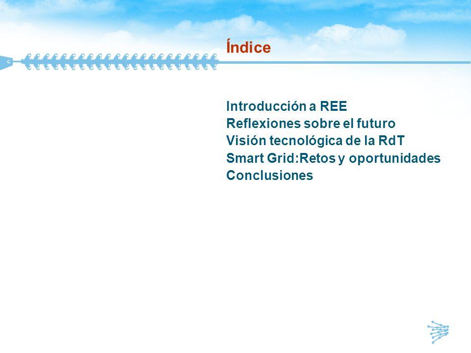 Índice Introducción a REE Reflexiones sobre el futuro Visión tecnológica de la RdT Smart Grid:Retos y oportunidades Conclusiones