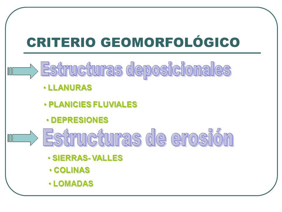 CRITERIO GEOMORFOLÓGICO LLANURAS LLANURAS PLANICIES FLUVIALES PLANICIES FLUVIALES DEPRESIONES DEPRESIONES SIERRAS- VALLES SIERRAS- VALLES COLINAS COLINAS LOMADAS LOMADAS