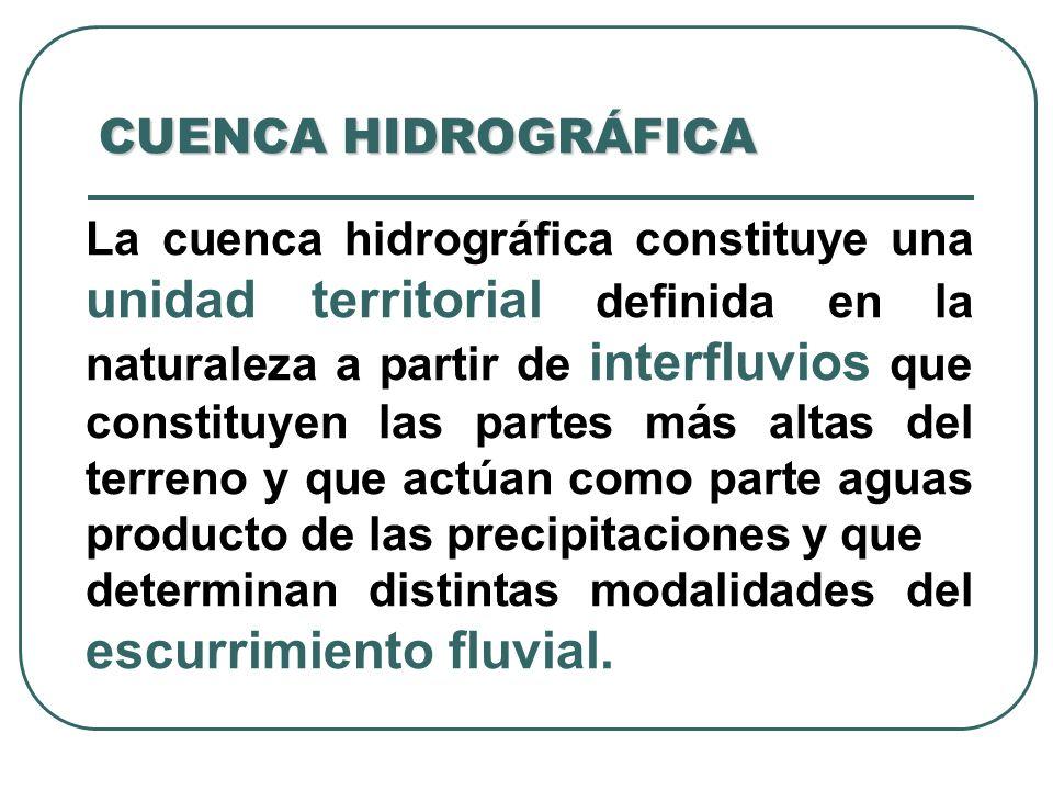 CUENCA HIDROGRÁFICA La cuenca hidrográfica constituye una unidad territorial definida en la naturaleza a partir de interfluvios que constituyen las pa