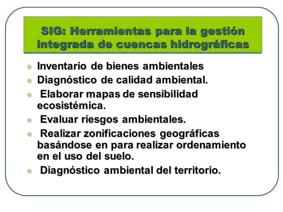 SIG: Herramientas para la gestión integrada de cuencas hidrográficas Inventario de bienes ambientales Inventario de bienes ambientales Diagnóstico de