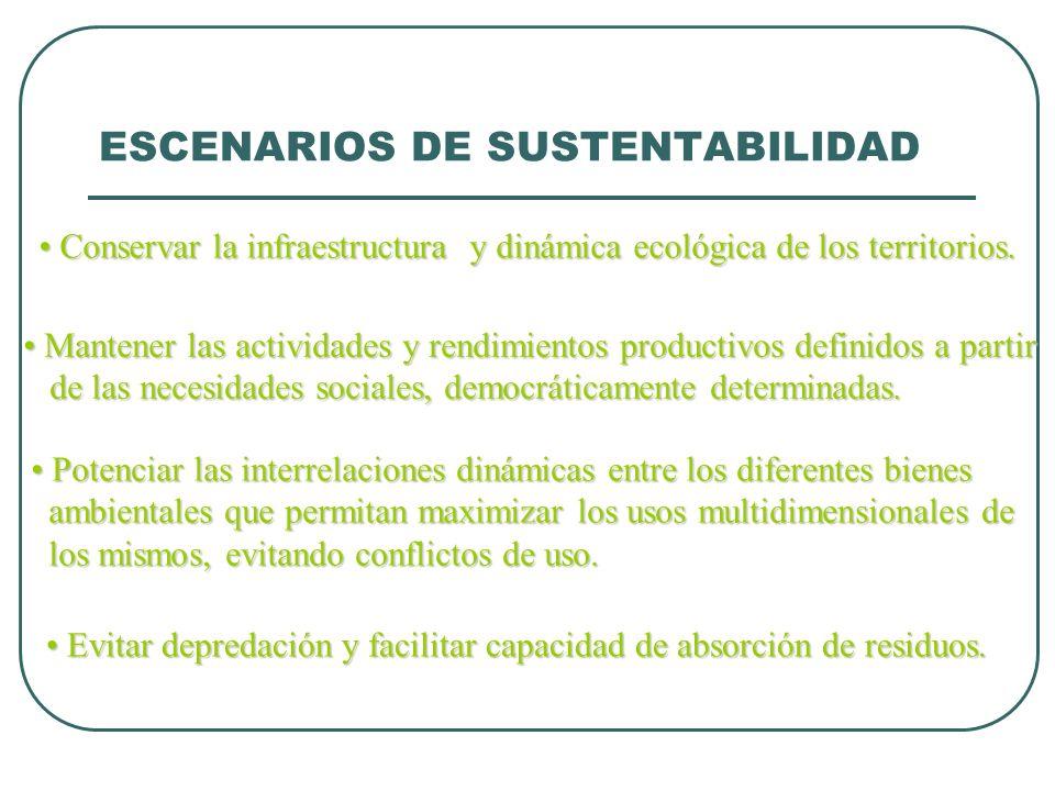 ESCENARIOS DE SUSTENTABILIDAD Conservar la infraestructura y dinámica ecológica de los territorios. Conservar la infraestructura y dinámica ecológica