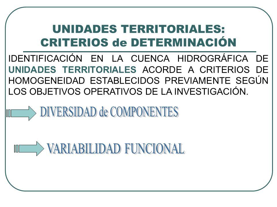UNIDADES TERRITORIALES: CRITERIOS de DETERMINACIÓN IDENTIFICACIÓN EN LA CUENCA HIDROGRÁFICA DE UNIDADES TERRITORIALES ACORDE A CRITERIOS DE HOMOGENEIDAD ESTABLECIDOS PREVIAMENTE SEGÚN LOS OBJETIVOS OPERATIVOS DE LA INVESTIGACIÓN.