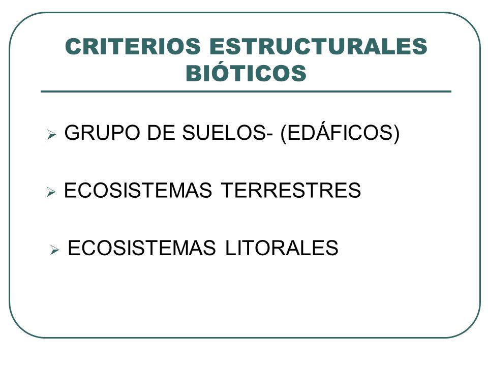 GRUPO DE SUELOS- (EDÁFICOS) CRITERIOS ESTRUCTURALES BIÓTICOS ECOSISTEMAS TERRESTRES ECOSISTEMAS LITORALES