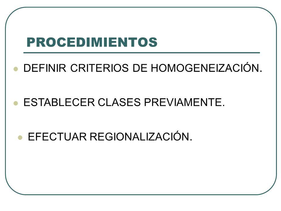 PROCEDIMIENTOS DEFINIR CRITERIOS DE HOMOGENEIZACIÓN. ESTABLECER CLASES PREVIAMENTE. EFECTUAR REGIONALIZACIÓN.