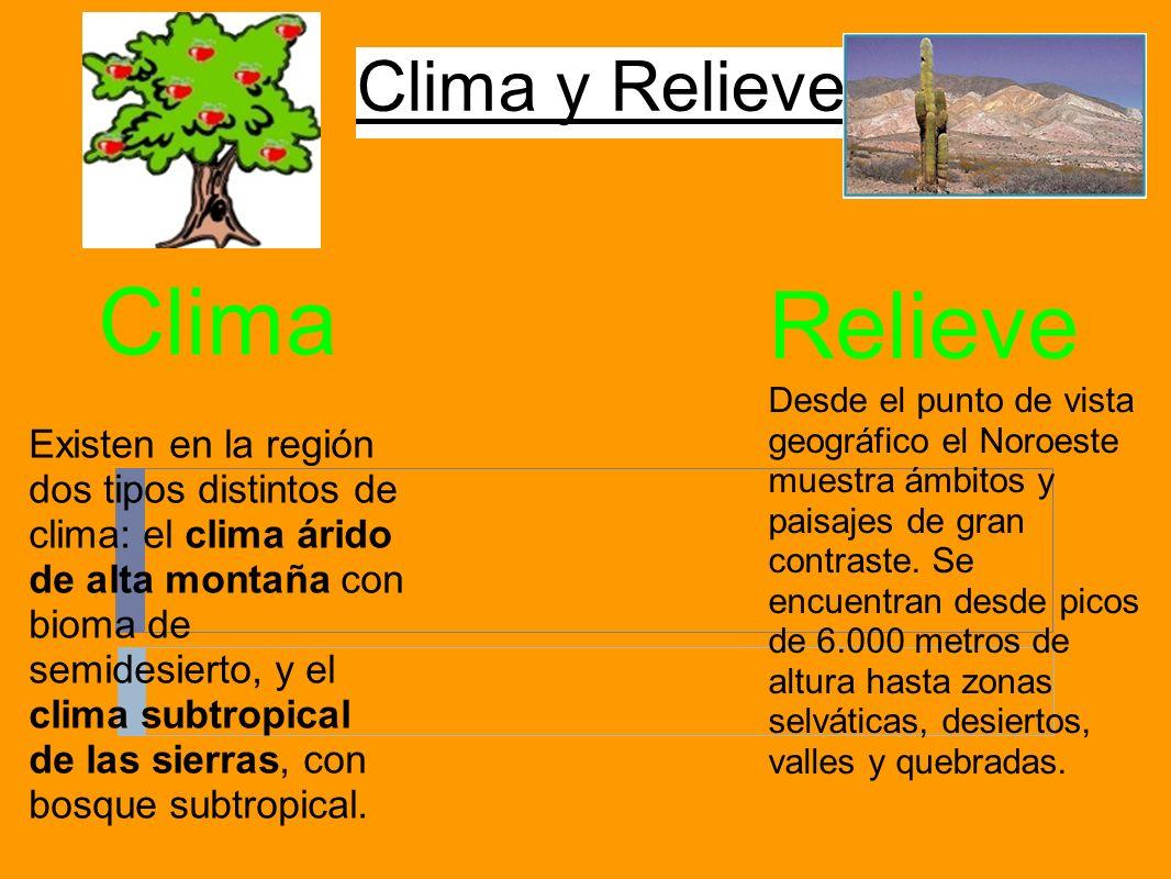 Clima y Relieve Clima Existen en la región dos tipos distintos de clima: el clima árido de alta montaña con bioma de semidesierto, y el clima subtropi
