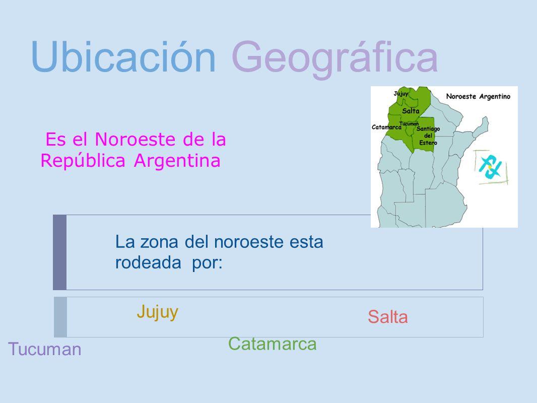 Ubicación Geográfica La zona del noroeste esta rodeada por: Catamarca Jujuy Salta Tucuman Es el Noroeste de la República Argentina