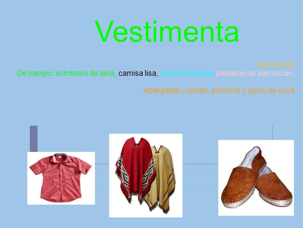 Vestimenta De campo: sombrero de lana, camisa lisa, poncho de lana, pantalón de barrancan, alpargatas u ojotas, ponchos y gorro de coya