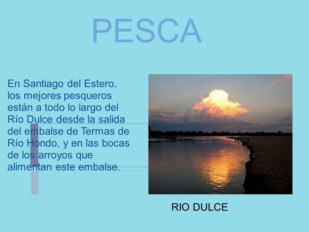 PESCA En Santiago del Estero, los mejores pesqueros están a todo lo largo del Río Dulce desde la salida del embalse de Termas de Río Hondo, y en las b