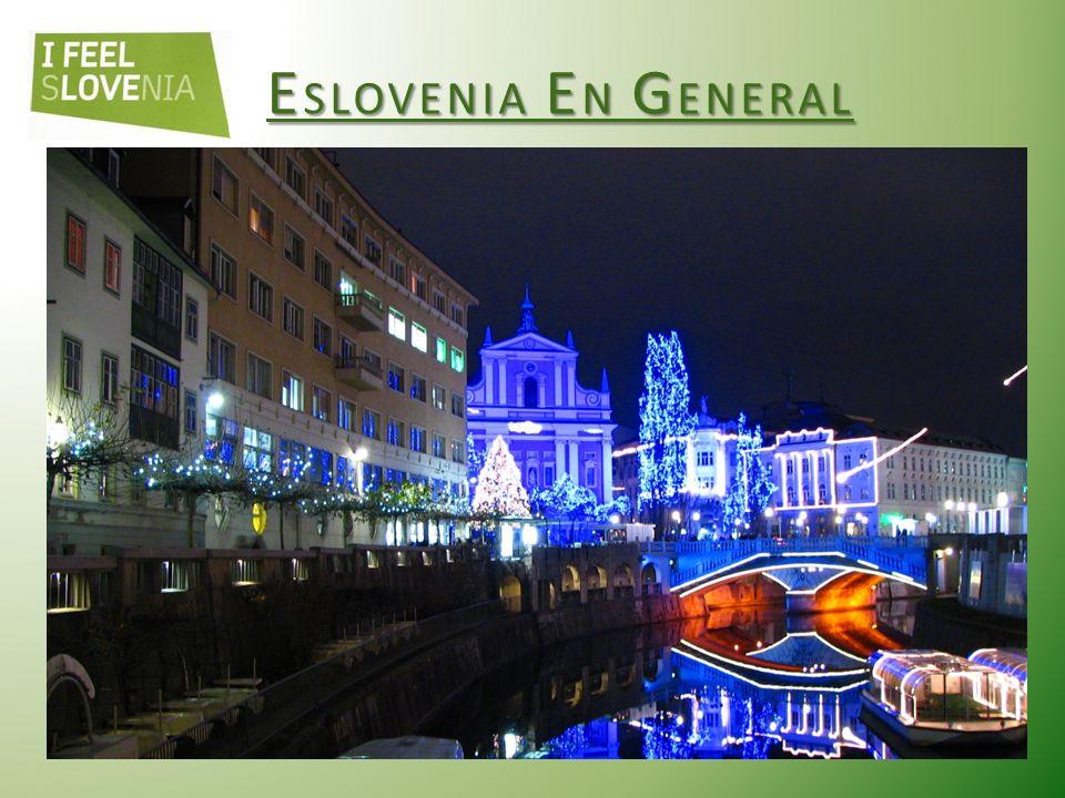 E SLOVENIA E N G ENERAL La actual Eslovenia se formó el 25 de junio de 1991 al independizarse de Yugoslavia (Croatia, Bosnia, Srbia, Macedonia, Montenegro, Eslovenia) Idiómas oficiales: Esloveno Moneda: Euro (EUR) Capital: Ljubljana (pop.