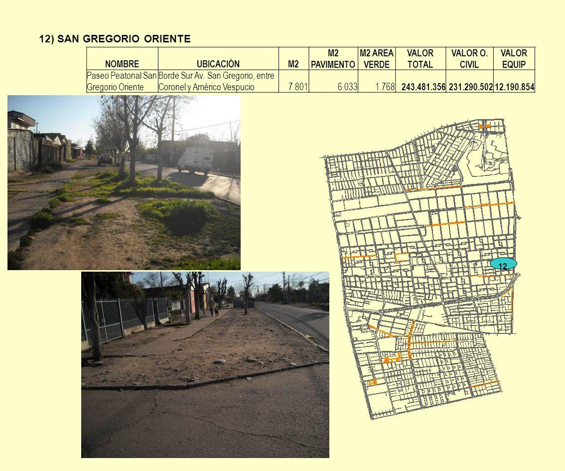 12) SAN GREGORIO ORIENTE 12 NOMBREUBICACIÓNM2 M2 PAVIMENTO M2 AREA VERDE VALOR TOTAL VALOR O. CIVIL VALOR EQUIP Paseo Peatonal San Gregorio Oriente Bo