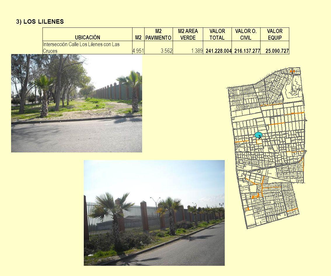 3) LOS LILENES 3 UBICACIÓNM2 M2 PAVIMENTO M2 AREA VERDE VALOR TOTAL VALOR O. CIVIL VALOR EQUIP Intersección Calle Los Lilenes con Las Cruces 4.9513.56
