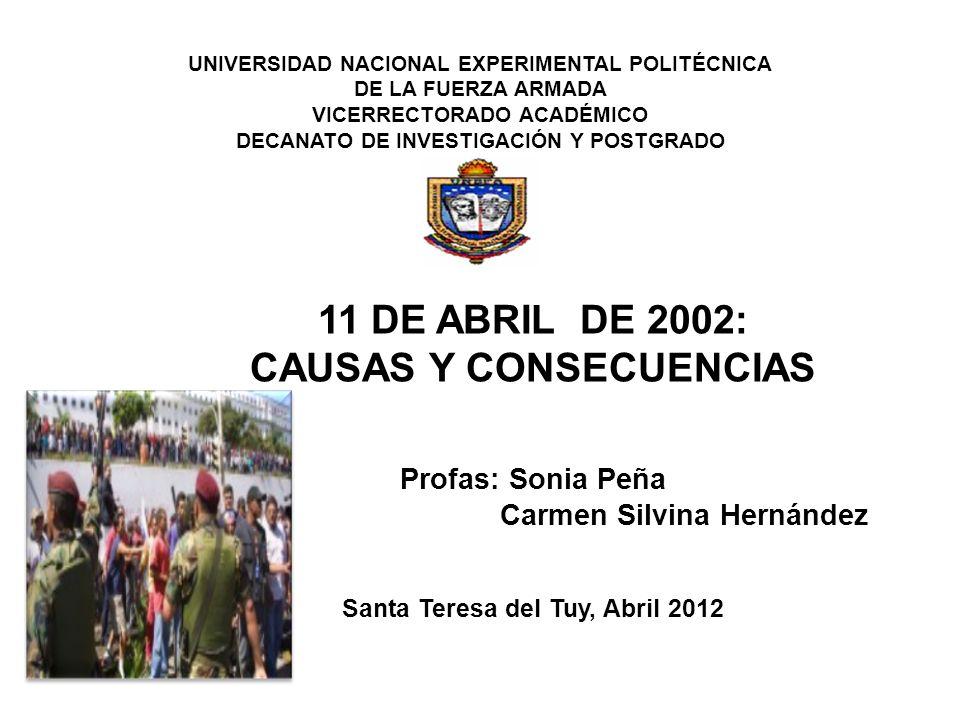 UNIVERSIDAD NACIONAL EXPERIMENTAL POLITÉCNICA DE LA FUERZA ARMADA VICERRECTORADO ACADÉMICO DECANATO DE INVESTIGACIÓN Y POSTGRADO UNEFA-DIP 11 DE ABRIL