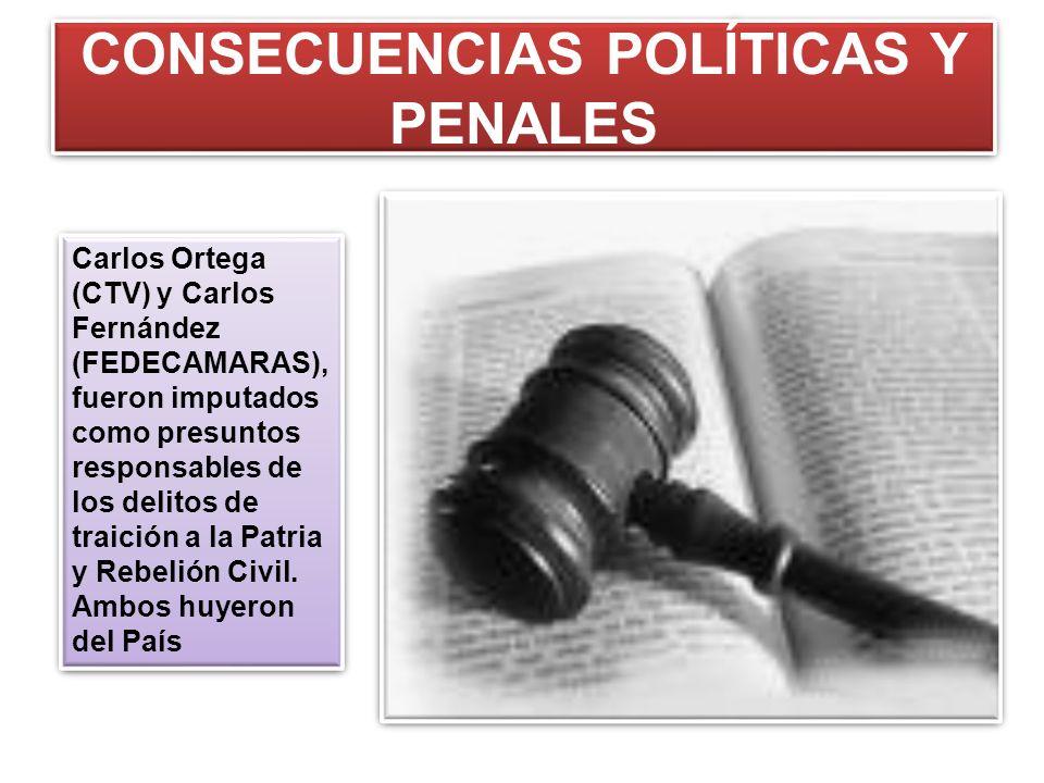CONSECUENCIAS POLÍTICAS Y PENALES Carlos Ortega (CTV) y Carlos Fernández (FEDECAMARAS), fueron imputados como presuntos responsables de los delitos de