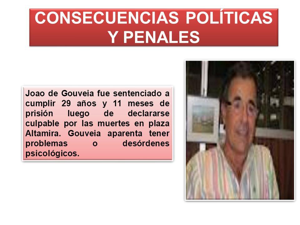 CONSECUENCIAS POLÍTICAS Y PENALES Joao de Gouveia fue sentenciado a cumplir 29 años y 11 meses de prisión luego de declararse culpable por las muertes
