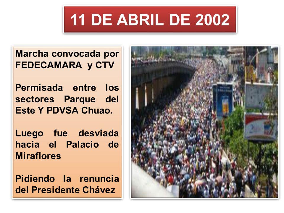 11 DE ABRIL DE 2002 Marcha convocada por FEDECAMARA y CTV Permisada entre los sectores Parque del Este Y PDVSA Chuao. Luego fue desviada hacia el Pala