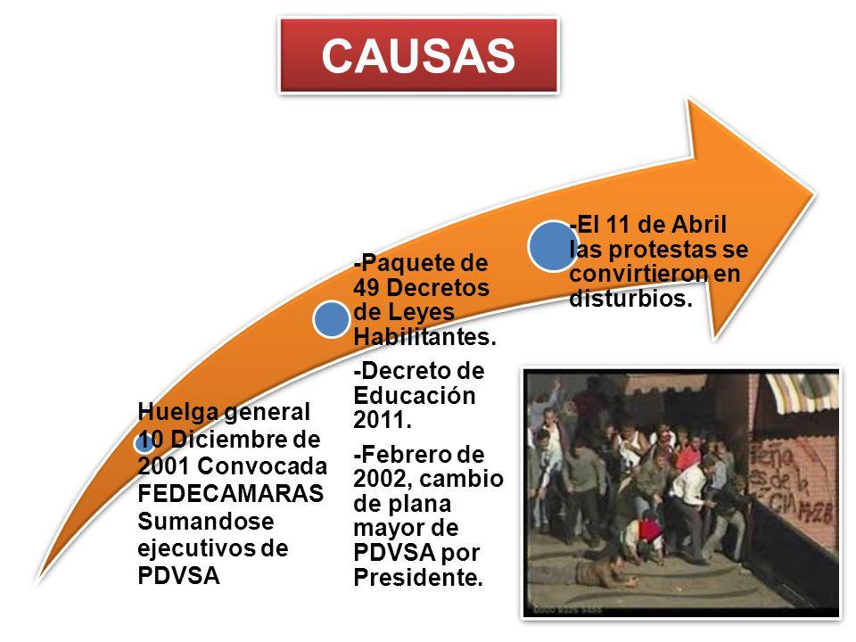 CAUSAS Huelga general 10 Diciembre de 2001 Convocada FEDECAMARAS Sumandose ejecutivos de PDVSA -Paquete de 49 Decretos de Leyes Habilitantes. -Decreto