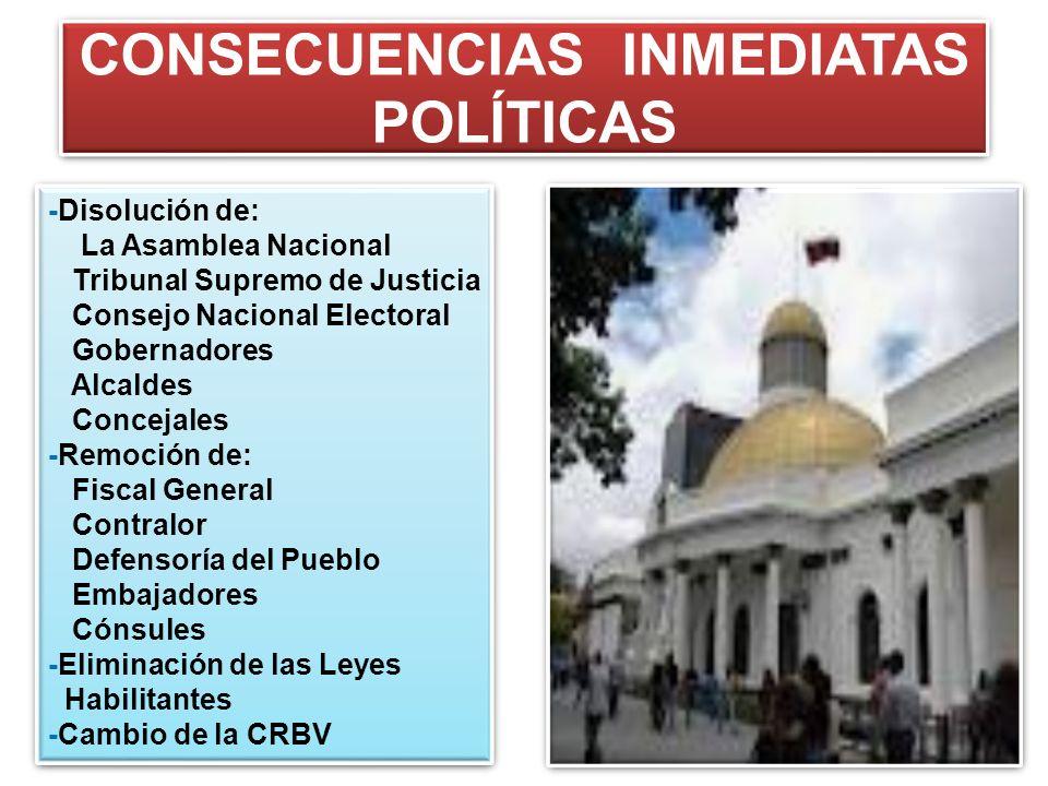 CONSECUENCIAS INMEDIATAS POLÍTICAS -Disolución de: La Asamblea Nacional Tribunal Supremo de Justicia Consejo Nacional Electoral Gobernadores Alcaldes