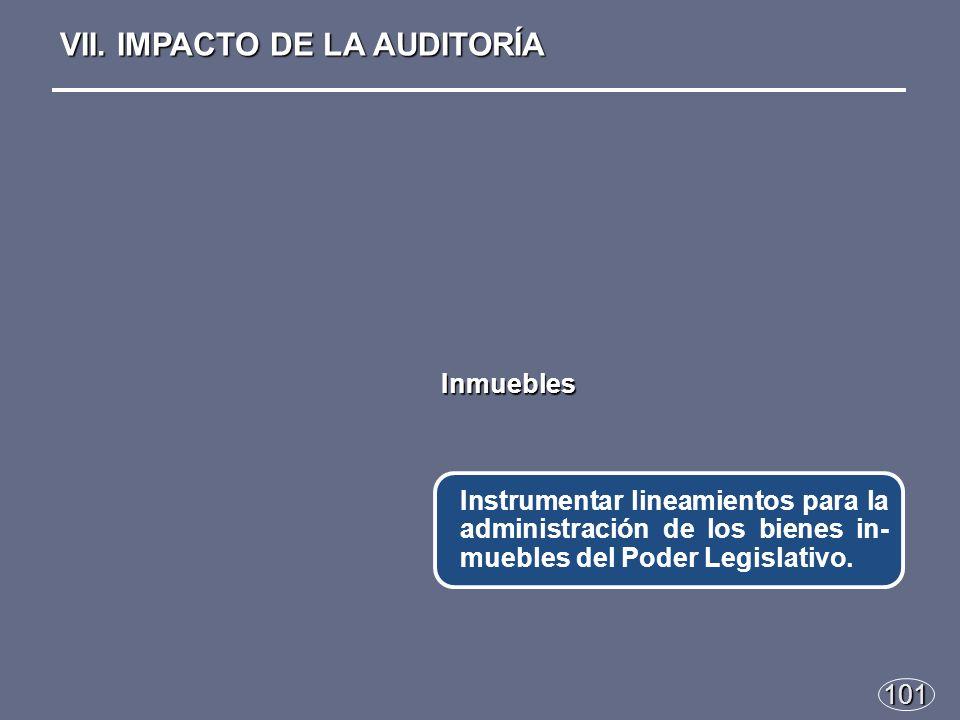 101 Instrumentar lineamientos para la administración de los bienes in- muebles del Poder Legislativo.