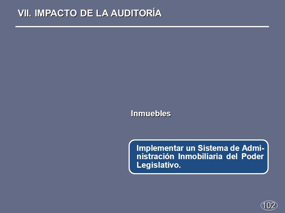 102 Inmuebles Implementar un Sistema de Admi- nistración Inmobiliaria del Poder Legislativo.