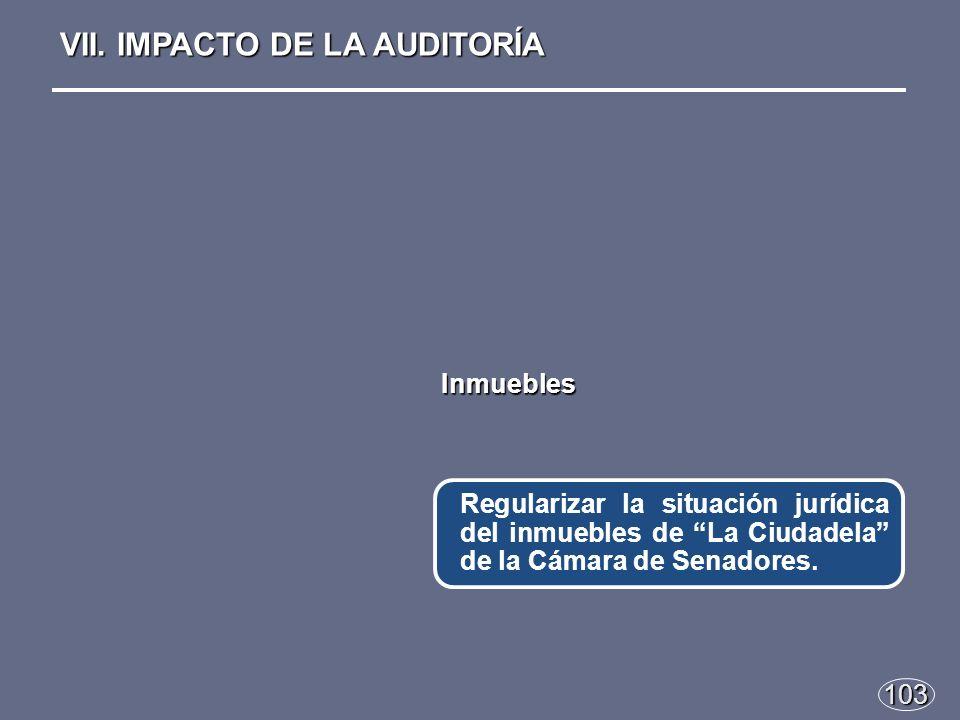 103 Regularizar la situación jurídica del inmuebles de La Ciudadela de la Cámara de Senadores.