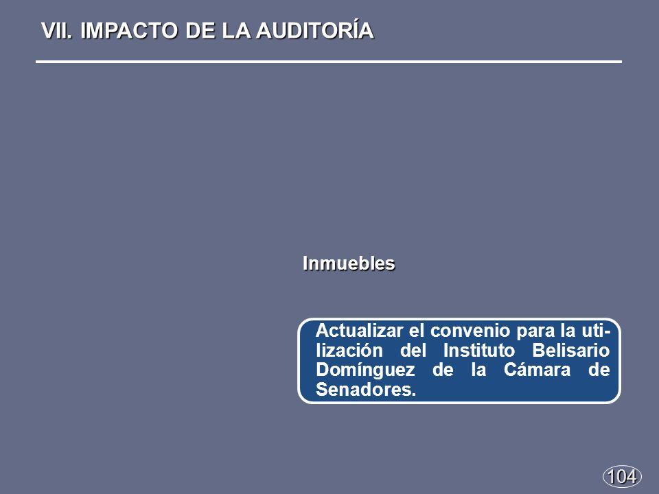 104 Actualizar el convenio para la uti- lización del Instituto Belisario Domínguez de la Cámara de Senadores.