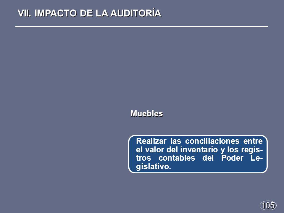 105 Realizar las conciliaciones entre el valor del inventario y los regis- tros contables del Poder Le- gislativo.