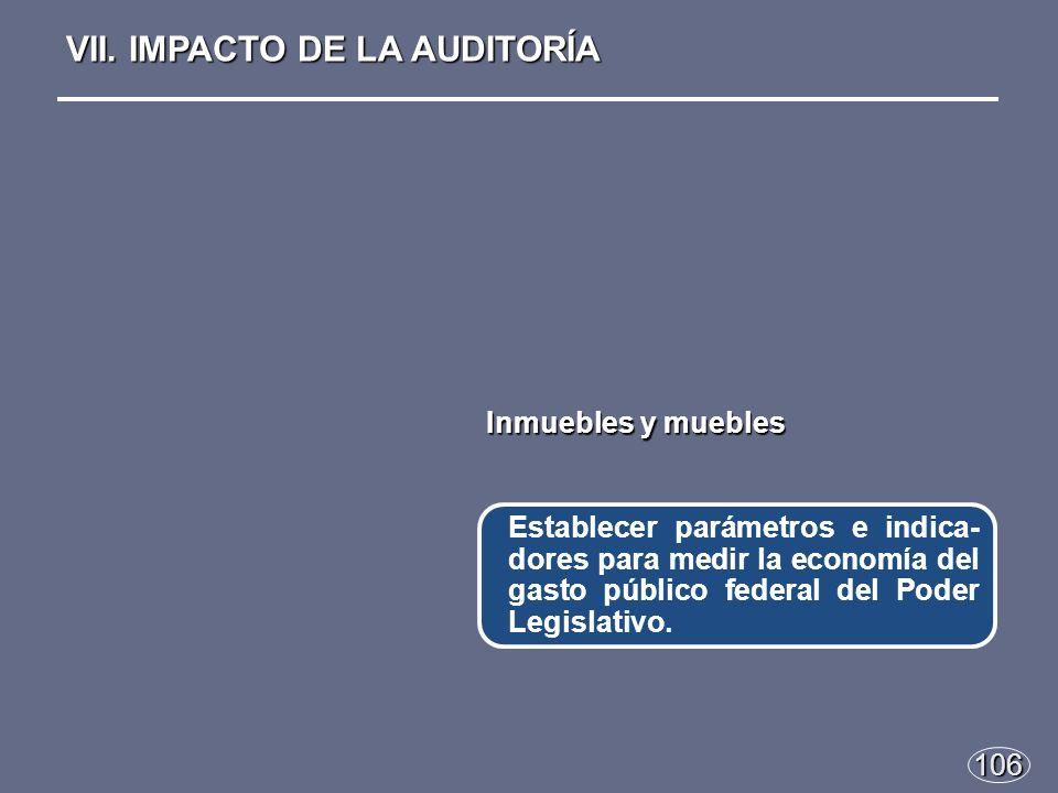 106 Establecer parámetros e indica- dores para medir la economía del gasto público federal del Poder Legislativo.