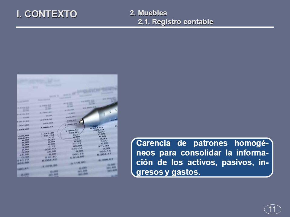 11 Carencia de patrones homogé- neos para consolidar la informa- ción de los activos, pasivos, in- gresos y gastos.
