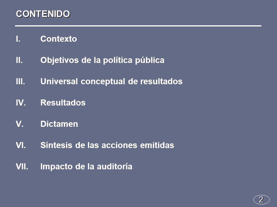 I.Contexto II.Objetivos de la política pública III.Universal conceptual de resultados IV.Resultados V.Dictamen VI.Síntesis de las acciones emitidas VII.Impacto de la auditoría 2 CONTENIDO